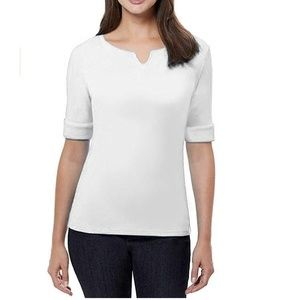 Ellen Tracy Women Cotton Lycra V-Neck T-Shirt